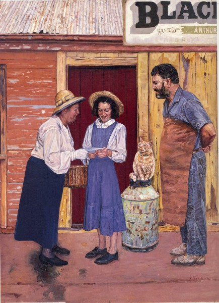 Norah Linton in Cunjee in A Little Bush Maid.  Painting by John Lennox.