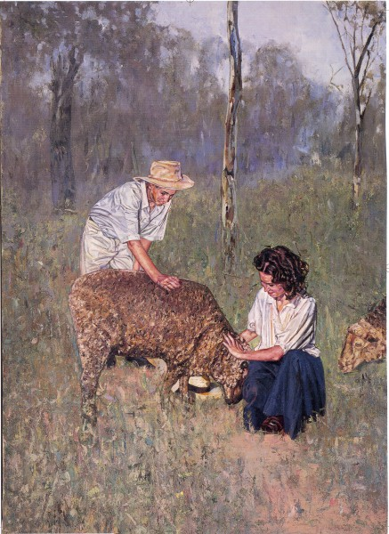 Norah Linton in A Little Bush Maid.  Painting by John Lennox.