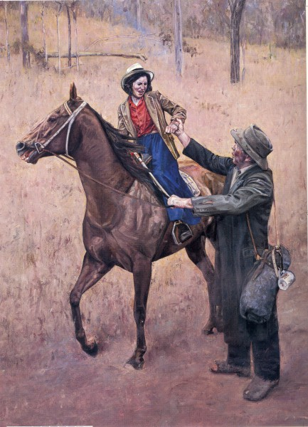 Norah accosted by a swagman.  Painting by John Lennox.