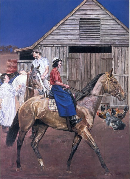Saddling up at Billabong.  Painting by John Lennox.