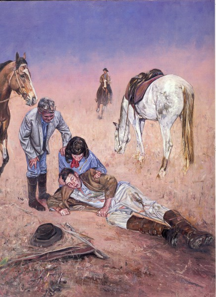 Jim Linton's racing accident in A Little Bush Maid.  Painting by John Lennox.