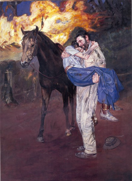 Norah and David Linton in A Little Bush Maid.  Painting by John Lennox.